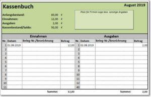 Excel-Vorlage Kassenbuch