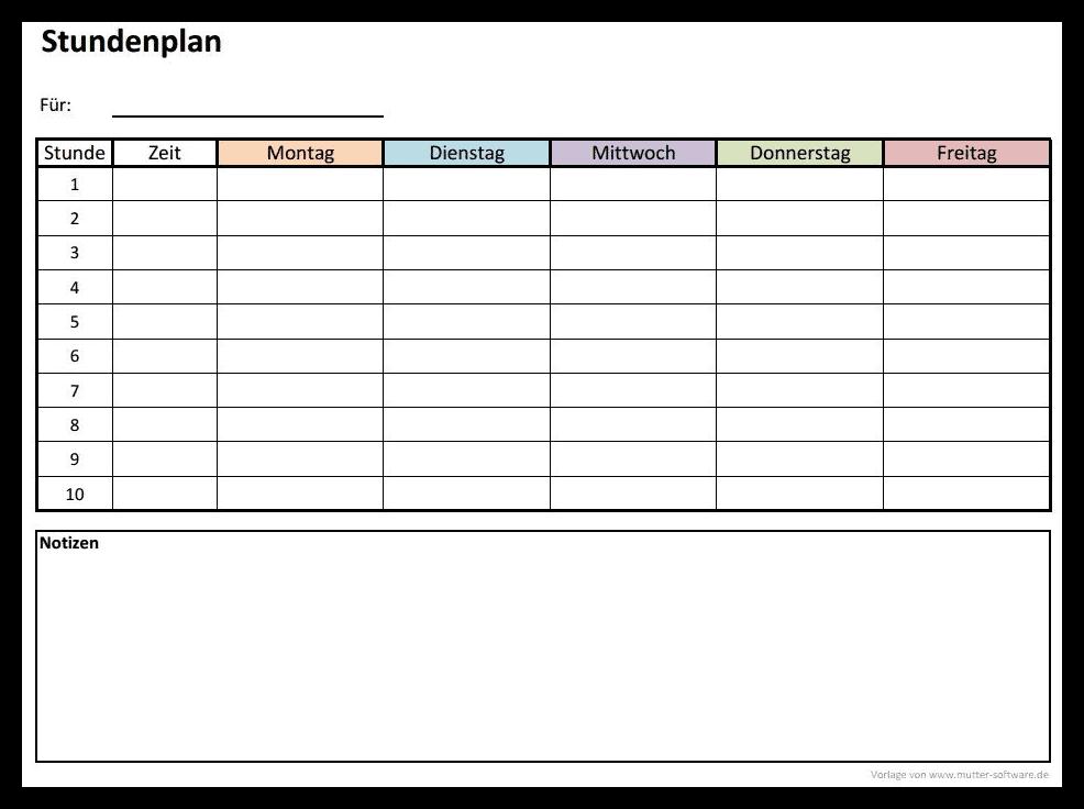 Stundenplan Vorlage | Alle-meine-Vorlagen.de