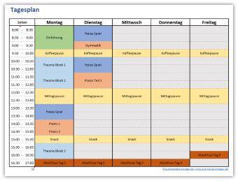 Tagesplan für eine Woche