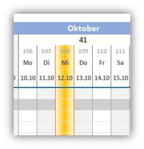 Excel-Tricks: Zeitbalken automatisch auf heutiges Datum setzen