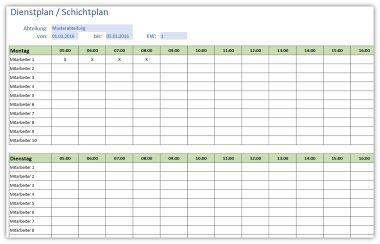 Einfacher Dienstplan / Schichtplan