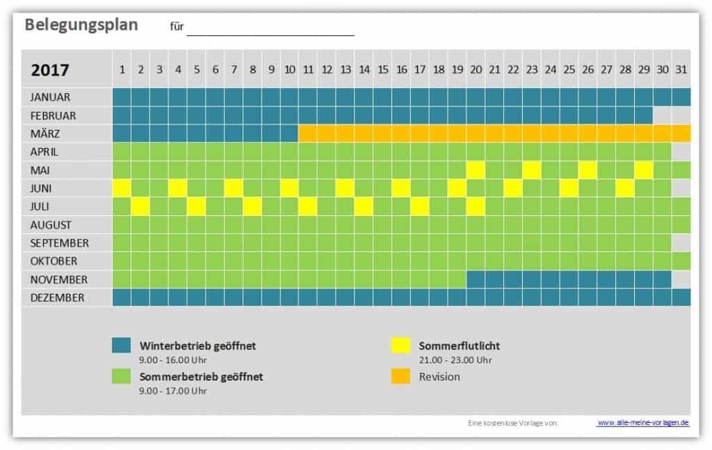 Vorlage Belegungsplan / Belegungskalender