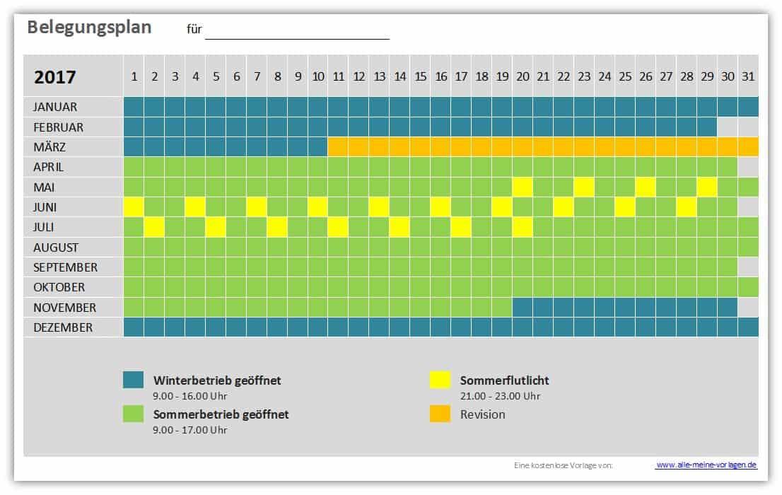 Vorlage Belegungsplan / Belegungskalender | Alle meine Vorlagen.de