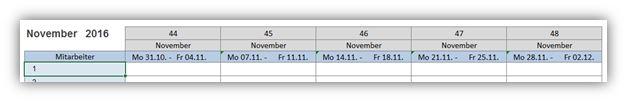 Monatsplan-Kalenderwochen