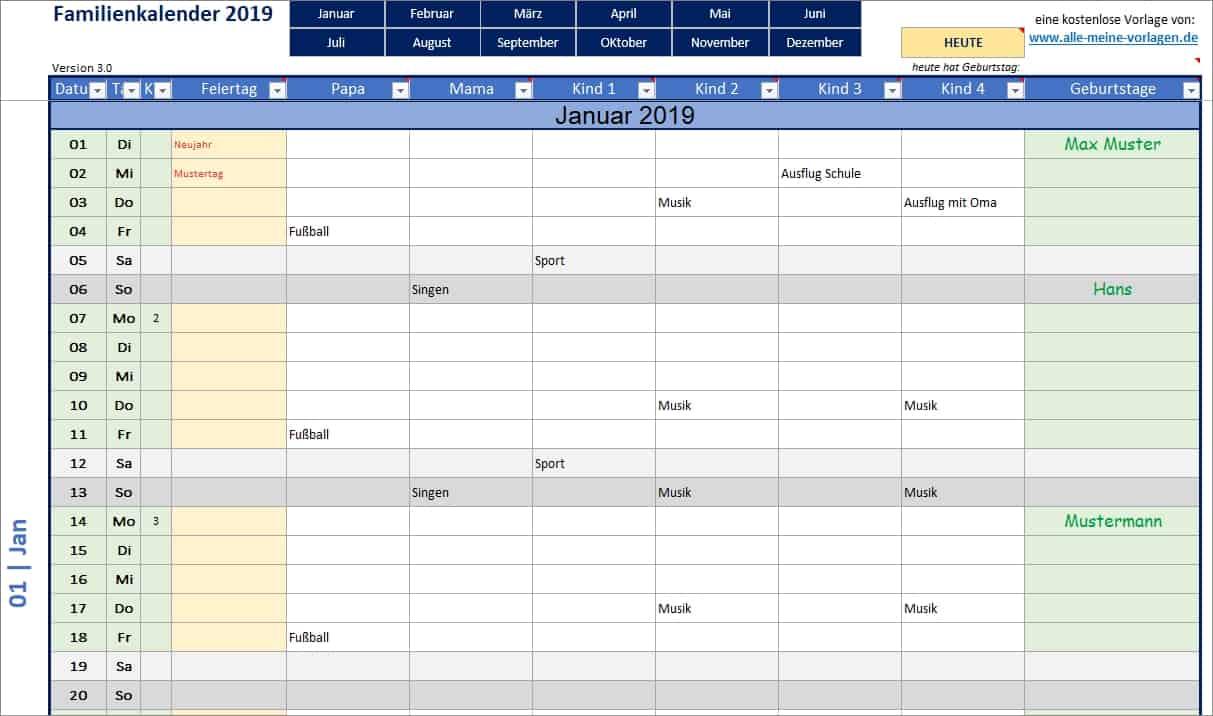 familienkalender als excel vorlage alle meine. Black Bedroom Furniture Sets. Home Design Ideas