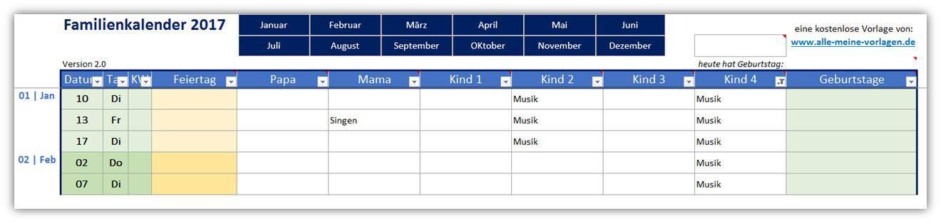 Familienkalender als Excel-Vorlage | Alle-meine-Vorlagen.de