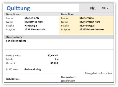 Quittung – Quittungsverwaltung als Excel-Vorlage