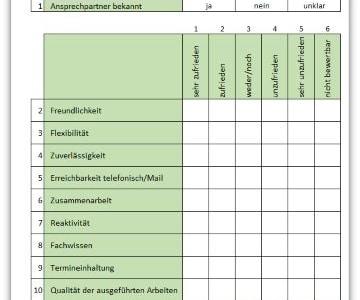 Kundenbefragung mit einer Excel-Vorlage
