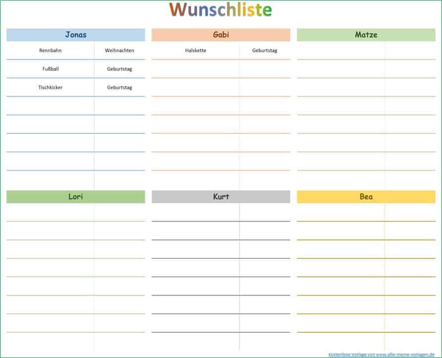 Wünsche erfüllen mit Hilfe einer Wunschliste | Alle-meine-Vorlagen.de
