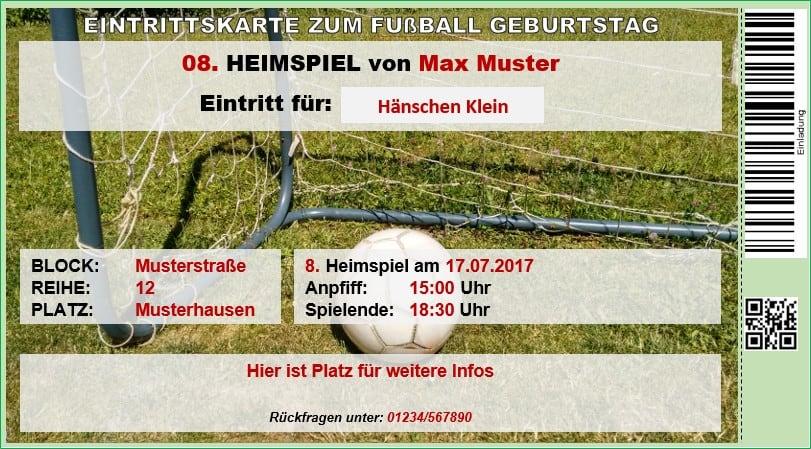 Einladung als Ticket für Fussballparty