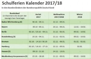 Schulferien Kalender 2017/2018