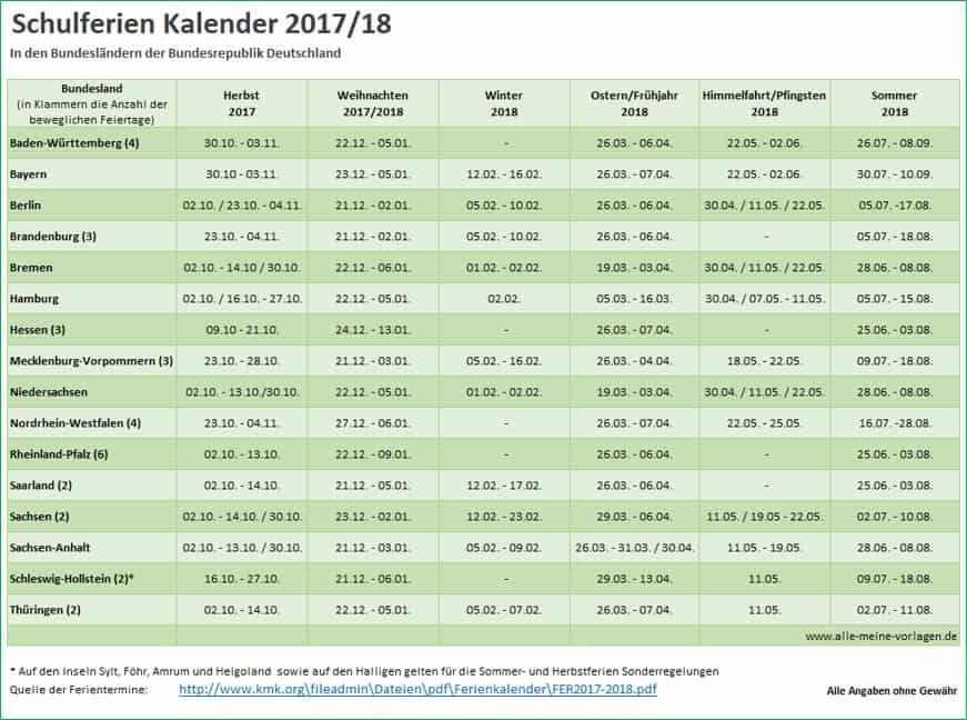 Schulferien Kalender 2017-2018