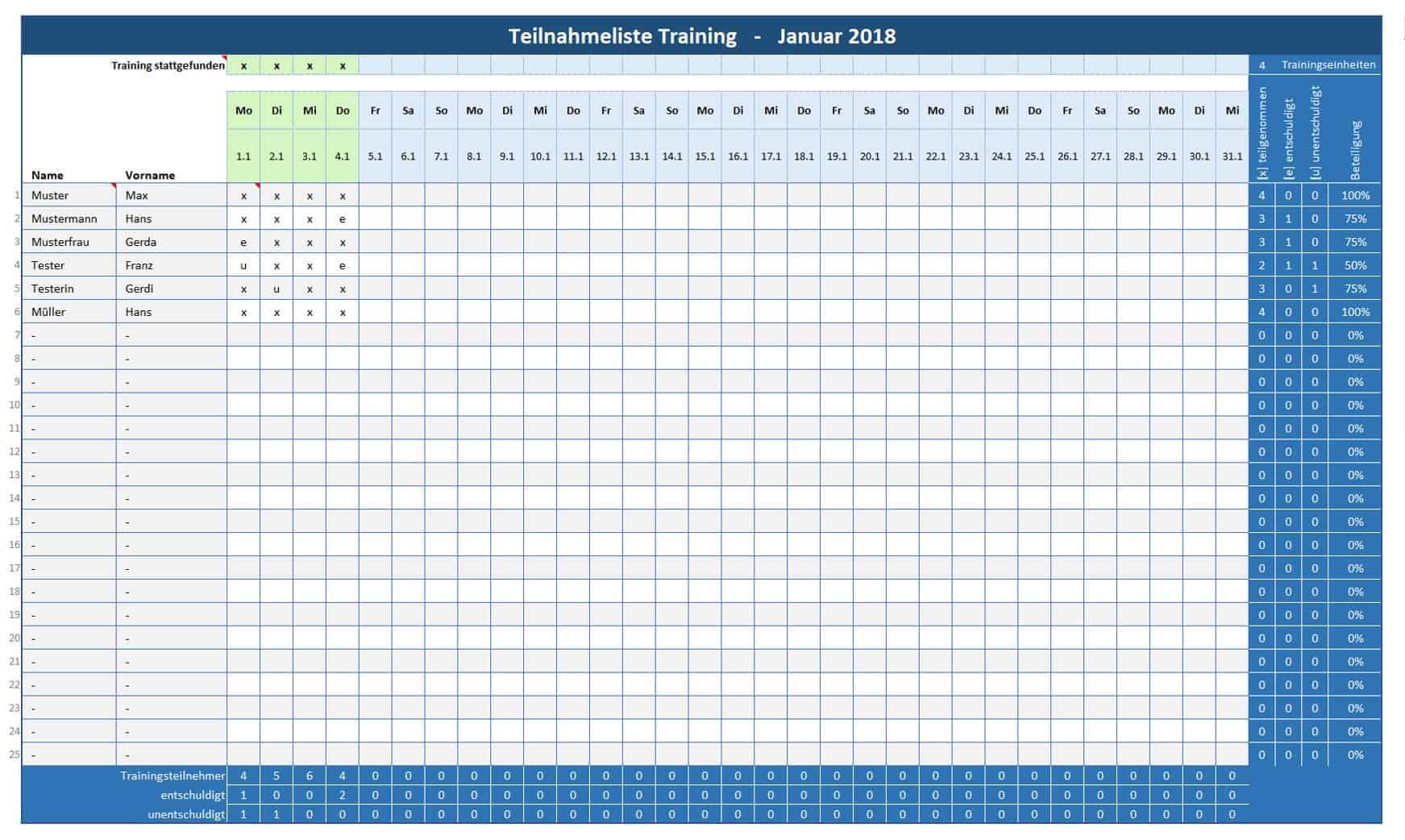 Anwesenheitsliste-Training / Teilnehmerliste-Training | Alle-meine ...