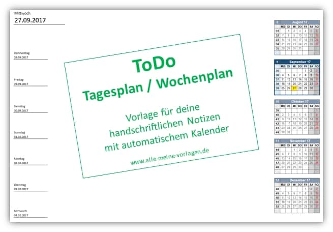 ToDo Tagesplan - Wochenplan