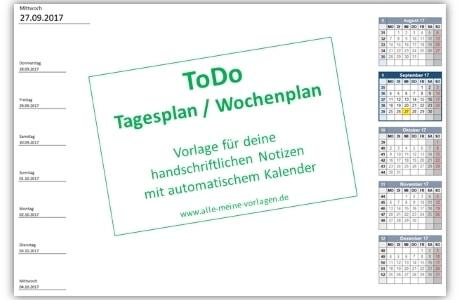 ToDo Tagesplan – Wochenplan
