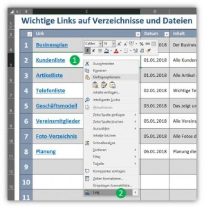 Navigation mit Hyperlinks in Excel