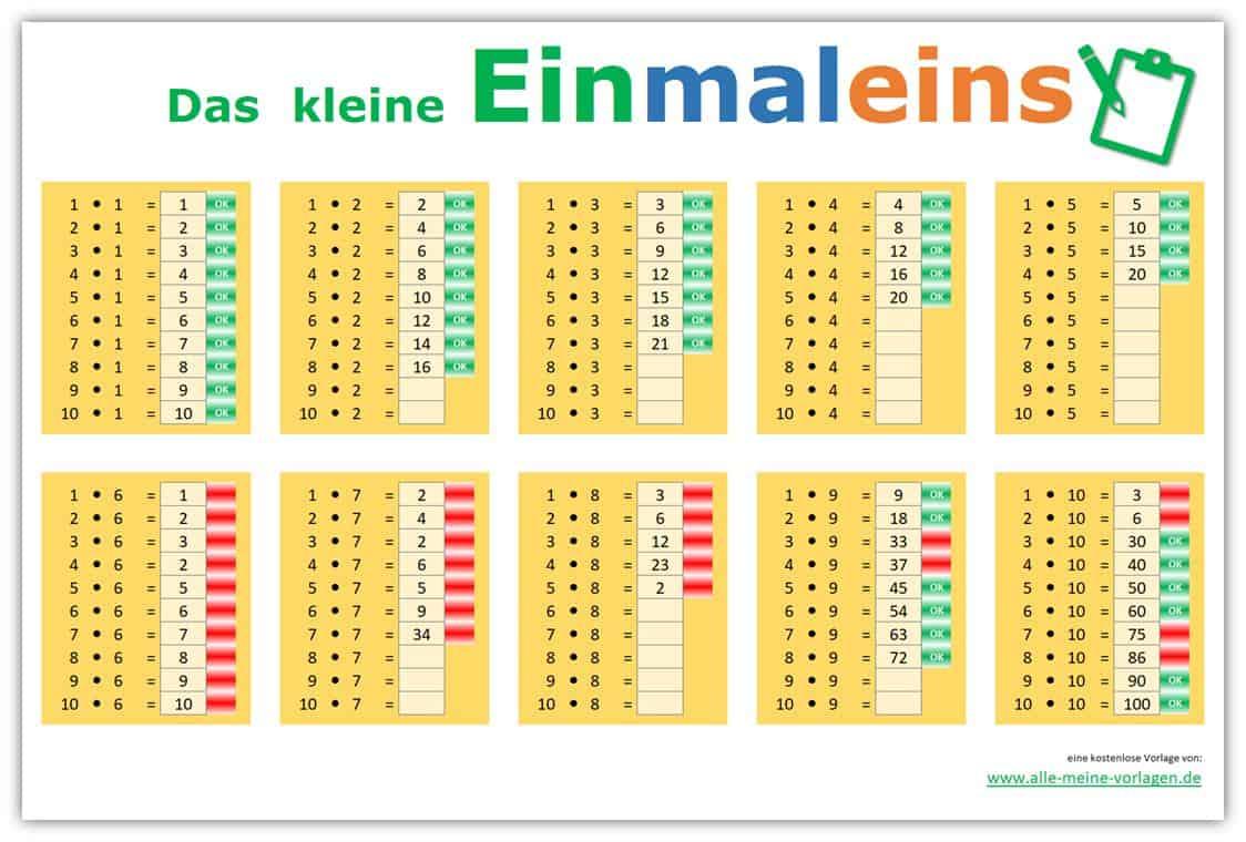 Das kleine Einmaleins – Lernen leicht gemacht | Alle meine Vorlagen.de
