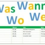 Was-, Wann-, Wo - Liste für Veranstaltungen
