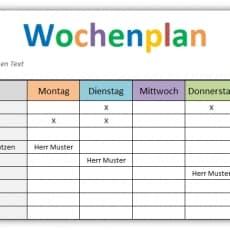 Wochenplan - Excel Vorlage