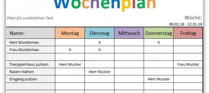 Wochenplan – Vorlage für Excel