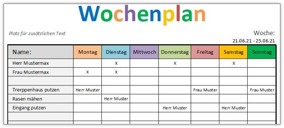 Wochenplan-Vorlage für Excel