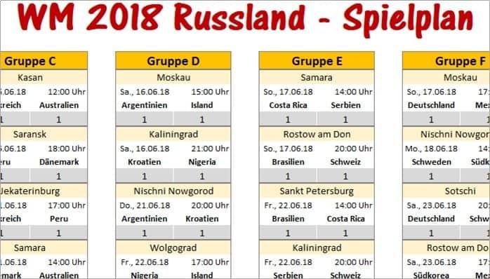 WM 2018 – Spielplan für Excel