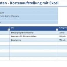 Übersicht Baukosten – Kostenaufstellung mit Excel