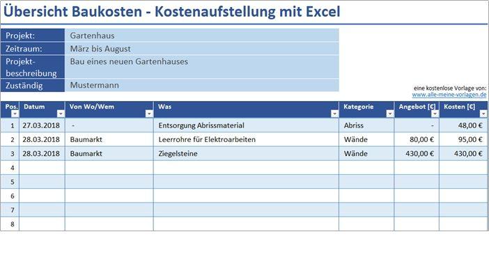 übersicht Baukosten Kostenaufstellung Mit Excel Alle Meine