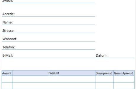 Bestellformular Vorlage für deine Bestellung