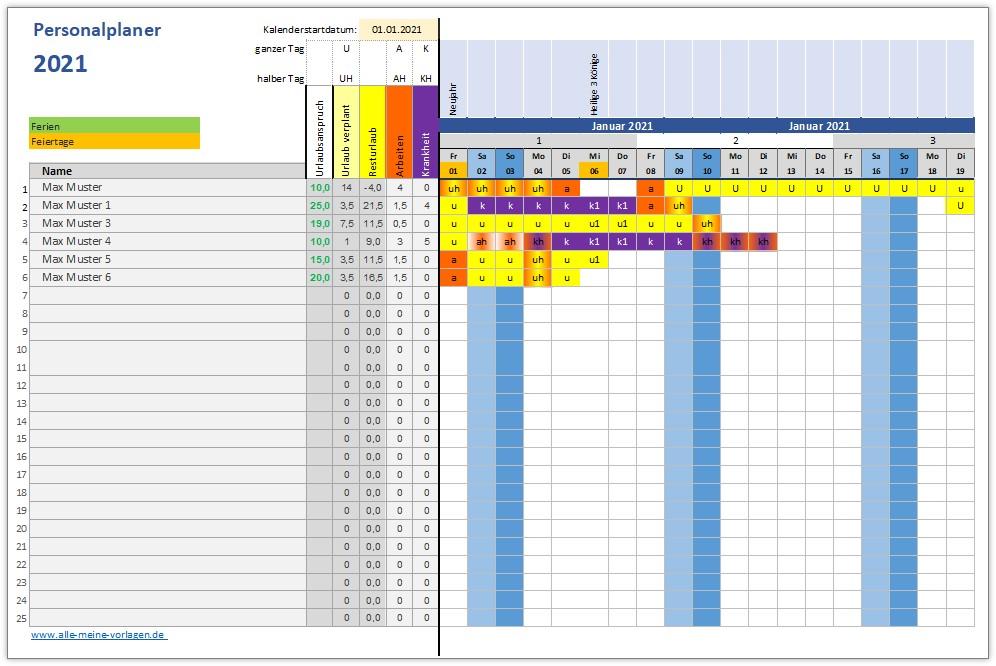 Excel Vorlage Personalplaner Alle Meine Vorlagen De