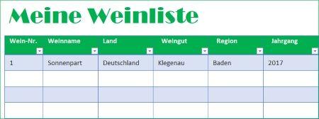 """Privater Weinkeller verwalten mit der Excel-Vorlage """"Meine Weinliste"""""""