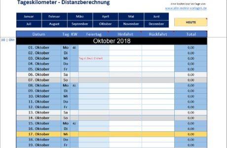 Tageskilometer – Distanzberechnung mit Excel