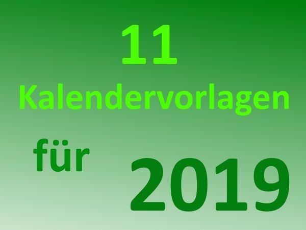 11 kostenlose Kalender-Vorlagen für 2019