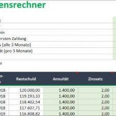 Kreditrechner für Excel – Annuitätendarlehen berechnen