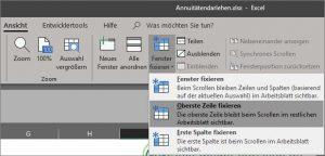 Excel Zeilen und Spalten fixieren
