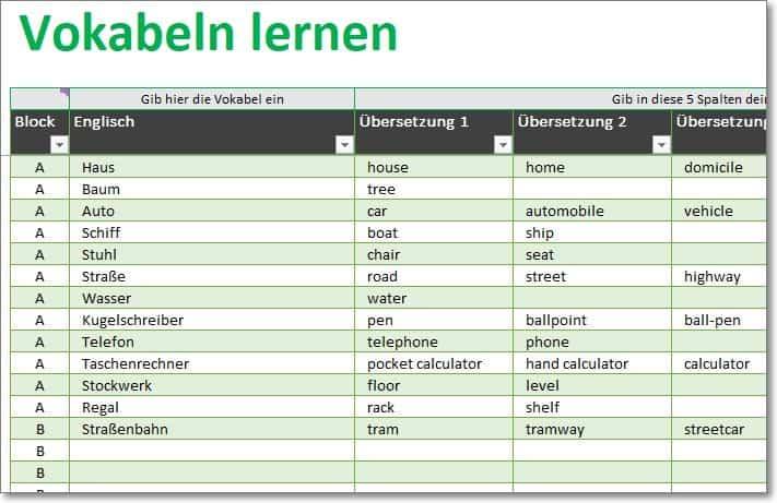 Sprachen lernen mit dem Vokabeltrainer für Excel
