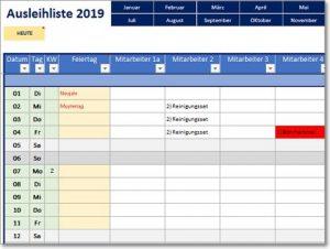 Ausleihliste für Excel – ausleihen von Gegenständen verwalten