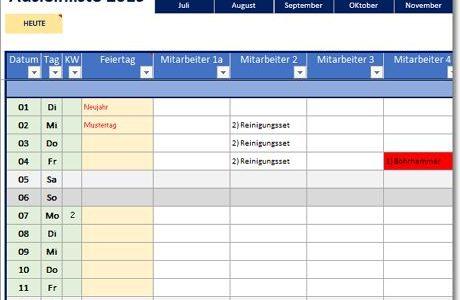 Ausleihliste für Excel – Gegenstände ausleihen
