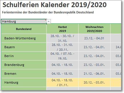 Schulferien 2019-2020