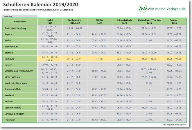 Schulferienkalender 2019-2020