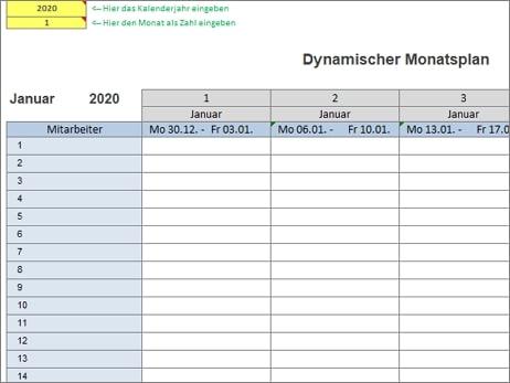 Dynamischer Monatsplan