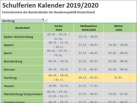 Schulferien Kalender 2019/2020