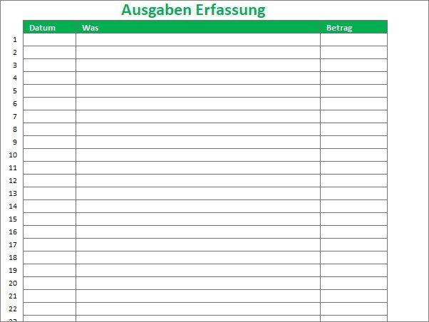 Ausgaben in Excel Vorlage erfassen