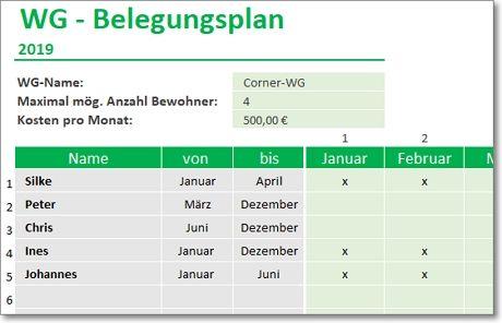 WG Belegungsplan für Excel