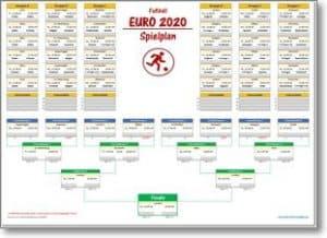 EM 2020 - Spielplan für Excel