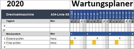 Wartungsplaner für Excel