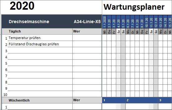 Wartungsplaner Fur Excel Alle Meine Vorlagen De