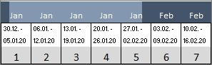 Bauzeitenplaner – Kalenderbereich