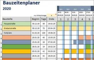 Bauzeitenplaner – Vorlage für Excel