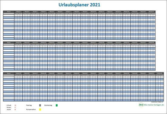 Urlaubsplaner 2021 / Ferienplaner 2021